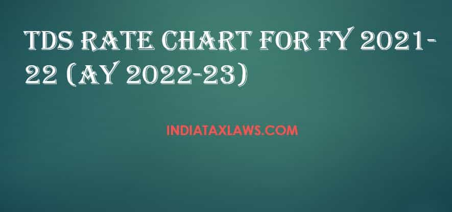 TDS Rate Chart for FY 2021-22